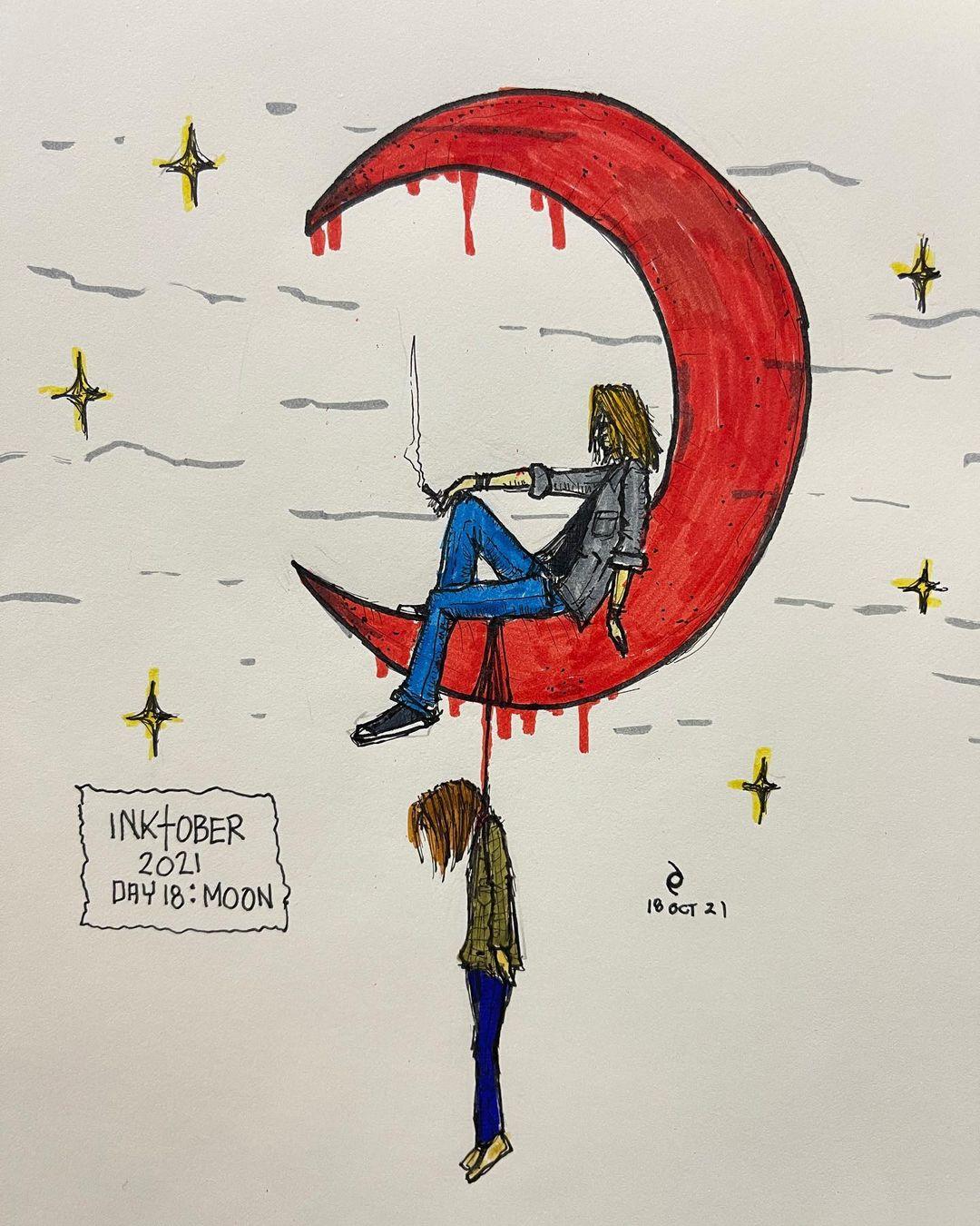 inktober - 2021 - Day 18 - Moon